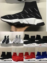 Sapatos de malha originais on-line-New Paris velocidade Trainers Knit Sock Sapatos Original Luxo Designer Sneakers das mulheres dos homens baratos alta qualidade superior Shoes Casual Box