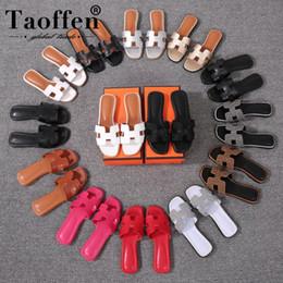 Cores de praia de verão on-line-Taoffen new casual 14 cores sandálias diárias summer beach club sexy sapatos de moda feminina sandálias férias calçado tamanho 34-42