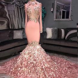 3d kunstbilder Rabatt 3D Floral Wunderschöne Meerjungfrau Lange Ärmel Prom Kleider 2019 Real Images Rosa Sheer Maßgeschneiderte Abendkleider BC1046