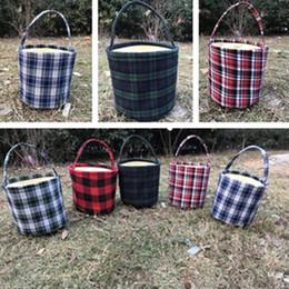 sacs à main en coton Promotion Nouveau sac de Pâques paniers de coton à carreaux grande capacité sacs Simple Panier de haute qualité sac à main Party Favor T7D5004