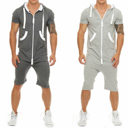 f354676aab13 Stylish Men Short Sleeve Shirts Pants Romper Jumpsuit One Piece Shorts  Playsuits