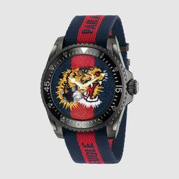 Reloj deportivo para hombre impermeable online-Regalos Relojes de Lujo Nuevo Tiger Face Mens Nylon Colorido Reloj de Cuarzo 40 MM Alta Calidad Impermeable Reloj Deportivo Hombre Militar Orologio