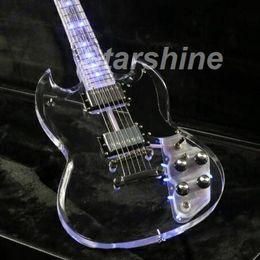 Acryl körper gitarren online-JET6101L SG E-Gitarre Full Acrylic Body und Neck Blue LED Light