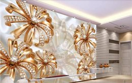 2020 papel pintado de oro para la sala de estar Custom 3D Photo Wallpaper Mural Living Room Sofa TV Telón de fondo Mural Gold Diamond Flower Jewelry Picture Wallpaper Mural Sticker Home Decor papel pintado de oro para la sala de estar baratos