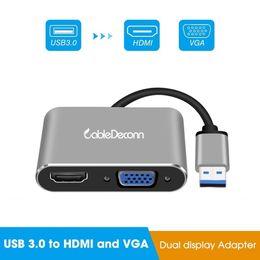 2019 projetor vga Adaptador USB para HDMI VGA conversor para Laptop com projetor de TV hd HdMI VGA suporta exibição juntos projetor vga barato