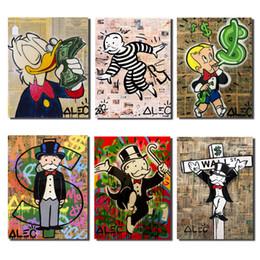 pintura decorativa para crianças Desconto ALEC Monopólios clássico Rua Artisc lona Posters Prints Art Oil Painting Imagem decorativa moderna sala dos miúdos Home Decor