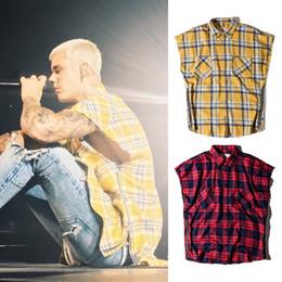 2019 camisa verificada nova Novo Lado-zip Xadrez Camisa FOG Hip Quadril Sem Mangas Camisa Top Homens Moda Camisas Casuais Vermelho Amarelo Verificado Tartan Camisa Longa BFSG1204 camisa verificada nova barato