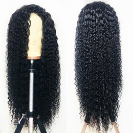 glueless wigs high density Promo Codes - Sweetheart high temperature 180% density long kinky curly wigs with baby hair black color glueless synthetic lace front wigs for black women