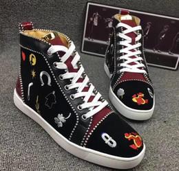 2019 zapatillas altas planas Spikes de alta calidad Zapatillas de deporte con tachuelas en la parte superior superior inferior roja de los hombres de diseño de lujo plana ocasional suela roja otoño invierno Casua kx168 rebajas zapatillas altas planas