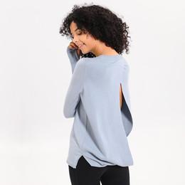 Camisas de manga larga de yoga online-Mujeres Yoga Camisas de correr Manga larga Entrenamiento al aire libre Fitness Yoga Camisa deportiva Camisa transpirable Tops Ropa deportiva de entrenamiento