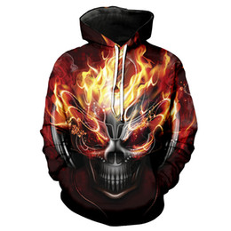 skull dj Coupons - Cool flame DJ Skull print hip hop streetwear fashion 3D  hooded sweatshirt 6816eeb2178f