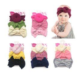 paquete de pajarita Rebajas Bandanas 3 Paquete: Sombrero de bebé Turbante sólido Un pañuelo para la cabeza de una niña Gorras elásticas para niñas Gorra de bebé Corbata de lazo Bebé Infantil Accesorios