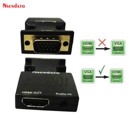 2019 adaptador hdmi de entrada vga entrada 1080p VGA 15 pines Entrada a HDMI Salida Adaptador de video HD Con audio VGA Macho a HDMI Adaptador de video hembra adaptador hdmi de entrada vga baratos