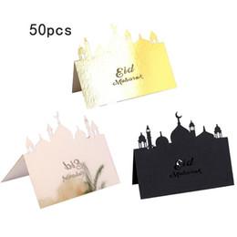 Mesa de cartas vintage online-50Pcs Tarjeta de número Tarjeta de asiento de mesa Mesa de recepción vintage Eid Mubarak Tarjetas de corte Invitaciones de fiesta de aniversario de boda