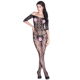 Collants florais de renda preta on-line-Black Lace Floral Abrir apertado Super decote Bodystockings