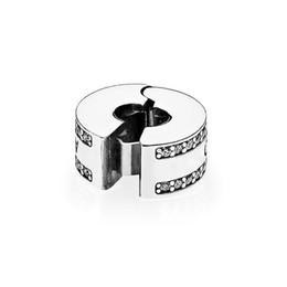 bijoux tropicaux en gros Promotion Nouveau Real Sterling Silver Circular Clip fixe avec Clear CZ Stone Fit Pandora Argent Charmes Bijoux Accessoires Bracelet Making DIY