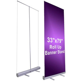 """Estandes de exibição de banner on-line-Atacado 33 """"x 79"""" retrátil Roll Up Banner Display Display alumínio sinal de promoção para conferências e feiras"""