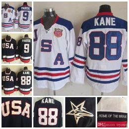 2020 jersey de hóquei zach parise usa 2010 Olímpico EUA Hockey Team Jerseys 9 Zach Parise 88 Patrick Kane Azul Branco costurado Jerseys desconto jersey de hóquei zach parise usa