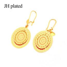 JHplated Africain Ethiopie Bijoux Boucles D'oreilles Ovale Deux Couche pour Le Cadeau Des Femmes Cadeau De Mariage Cadeaux De Mode Bijoux Décoratif ? partir de fabricateur