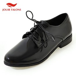 red flat shoelaces Promo Codes - fashion large Size 30-50 shoes woman derby flats female retro vintage british style black shoelaces women's shoes footwear