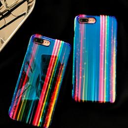 Étui arc-en-ciel iphone bleu en Ligne-Designer de luxe 3D Rainbow Motif Blue Ray Couverture de téléphone pour IPhone X XS 7 6 6s 8 Plus I