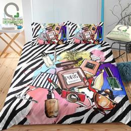 Ropa de cama de cebra impresa online-BOMCOM 3D Impresión digital Funda nórdica Set Cosmética Colecciones Zebra Stripes Maquillaje Modern Lady Fashion Girl Juego de cama 100% M