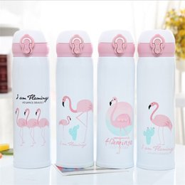 bullet stainless steel water bottle Promo Codes - Flamingo Double Deck Stainless Steel Water Bottle Flamingo Cups Vacuum Plastic Suspension Bullet Water Children's Cup Classic 11 5xmb1E1