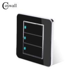 Interruptor De Luz de parede Coswall Marca 3 Gang 2 Way Botão Clique Aleatório Clique Com LED Indicador de Painel de Cristal Acrílico Preto Espelho de
