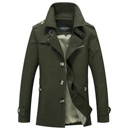 Abrigo informal de negocios online-Chaquetas de carga para hombres Ocasional Business Long Cotton Trench Coat Jacket Hombres Marca Clásico icónico Trench Breasted Abrigo