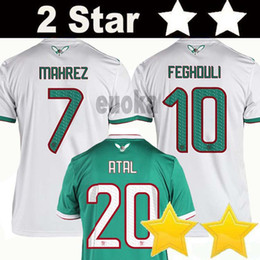 Star soccer en Ligne-Maillots de football 2 étoiles Algeria TOP QUALITY 2019 Africa Coupe d'Algérie MAHREZ FEGHOULI ATAL BRAHIMI maillots de football 19 20 maillot de foot en Algérie kits enfants