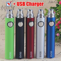 Ego ce4 caneta vaporizador on-line-100% Qualidade EVOD baterias Vaporizador Caneta USB Carregador 510 fio da bateria 650 900 1100 mAh vape canetas para EGO CE4 MT3 PK kangertech evod ecig
