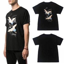 2019 d camisa gris hombre 20ss diseñador de la camiseta de lujo camiseta del verano de incendios moda de la grúa Hombres Mujeres Negro algodón camisetas de manga corta del tamaño S-XXL