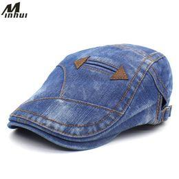 4adb81a844ba0 bonnet plat en denim Promotion Minhui Classique Denim Lavé Beret Pour  Hommes De Mode Jeans Chapeaux