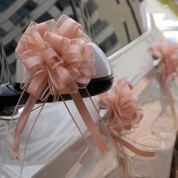 Blumenstraußfarbe beige online-30 stücke einfarbig weiß / gold schöne 65mm große Zug Bogen band für blumenstrauß blume Geschenk Verpackung Hochzeit Auto Party Dekoration