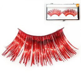 73104439462 China 1 Pair Red Color Strip False Eyelashes 100% Pure Handmade Personality  Stage Creative Makeup