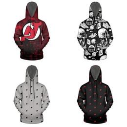 Roter teufel hoodie online-New Jersey Devil rot Stadt Newark Männer Raum Baumwolle Maxi-Hoodie Kordelzug Printed lose Sweatshirt Eishockey schwarz grau Tie-Logo