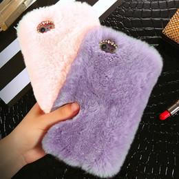 Роскошный стильный теплый зимний мягкий искусственный кролик кролик пушистый меховой плюшевый чехол для мобильного телефона женщины девушки мода защитная крышка мобильного телефона от