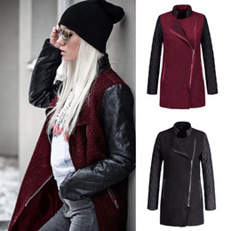 2019 pu trench coat donne TEXIWAS Cappotto trench con zip Cappotto donna Cappotto invernale con cappuccio Autunno Inverno Cappotto con patchwork in pelle PU Femminile Tasca Outwear sconti pu trench coat donne