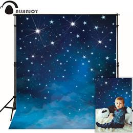 tecido de vinil azul Desconto Allenjoy fundo fotográfico Espaço azul estrelas brilham cenários de fotografia para venda fotografia fantasia tecido vinil photocall