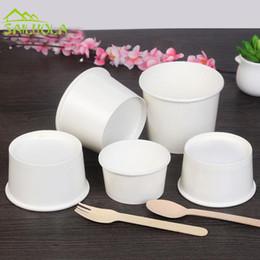 100 pçs / lote 4/6/8 oz branco descartável ice cream copo de papel ice cream tigela partido fornecedor de Fornecedores de café, mexendo, varas