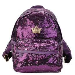 crown packaging Coupons - Xiniu 2019 Fashion Women Outdoor Crown Sequins Colorful Backpacks Travel Bag School Package Zaino da donna Designer#30