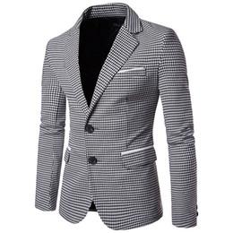 Slim Fit Erkekler Blazer Tasarımlar Suit Ekose Rahat Ceket erkek Gelgit Büyük Boy Ceket Suits Jaqueta Masculina Forrada erkek Giyim cheap large fit nereden büyük uyum tedarikçiler