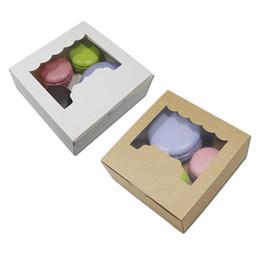 Cajas de regalo para galletas online-10 unids / lote Blanco / Marrón Hornear Cajas de Embalaje de Alimentos Favor de Partido Galletas Kraft Galletas de Almacenamiento de Papel Cajas Caja de Regalo de Caramelo de Chocolate