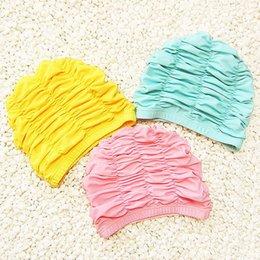 schwimmen hüte für lange haare Rabatt Nette feste rosa Mädchen-Badekappe-wasserdichte Gehörschutz-Badekappe-lange Haar-Baby-Schwimmen-Pool-Kappen-Hut-Kind-Badebekleidung