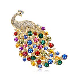 Spilla di uccelli di cristallo online-Large Personality Female Peacock Brooch Matrimoni da sposa Full Crystal Peacock Corsage Colorful Animal Bird Spille Pins
