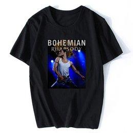 2019 chemises bohème hommes Bohemian Rapsody Freddie Mercury T-shirt 100% coton Vintage T-shirts pour homme Haut Tee Marque manches courtes de style Plus Size promotion chemises bohème hommes