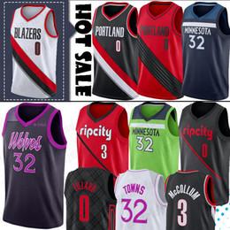 damian lillard Desconto NCAA Damian Lillard 0 Jerseys CJ 3 jersey McCollum Karl-Anthony 32 Cidades Basketball Jersey Homens