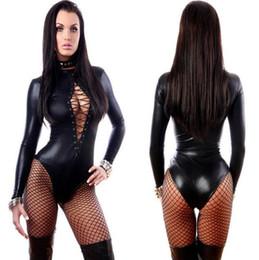 2019 costume fedex Donne di cuoio sexy del vinile nero Bodysuits Erotic Body Costumi gomma flessibile Hot Latex Catsuit Catwomen Costume