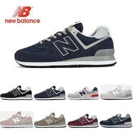 Vinhos vintage on-line-new balance 2019 Designer 574 tênis para homens triplo preto branco rosa vinho mulheres sports sneakers formadores respirável moda vintage tamanho 36-44