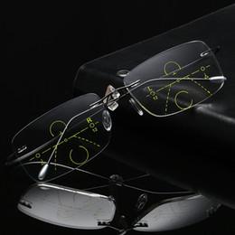 óculos de titânio sem aro para homens Desconto Titanium Aro Sem Fio Multifocal Progressiva Multi Foco Óculos de Leitura Transição Homens Óculos Hipermetropia Presbyopia Reade C19042001